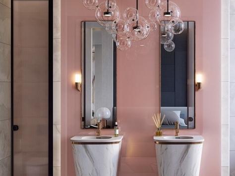 """Дизайн интерьера ванной в Томске """"Розовые стильные ванные комнаты"""""""